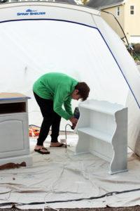 Homeright sprayer and spray shelter in action!
