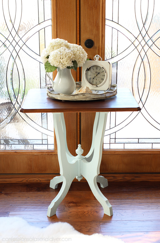 Antique side table updated from confessionsofaserialdiyer.com