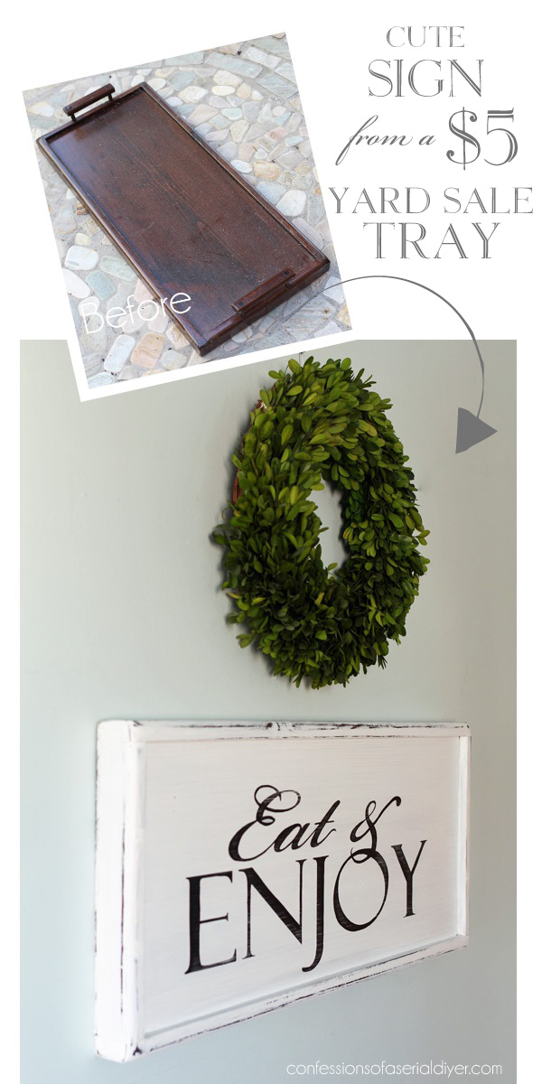 Make a cute sign from an old tray!