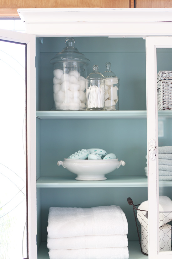 I spray painted the interior in Rustoleum Robin's Egg Blue spray paint for a pretty contrast.