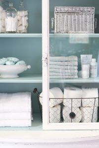 Add a pop of color to the inside of a cabinet for a bit of fun. This is Rustoleum spray paint in Robin Egg Blue.