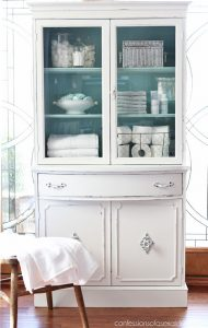 white painted china cabinet