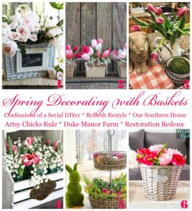 Decorating for Spring using Baskets!
