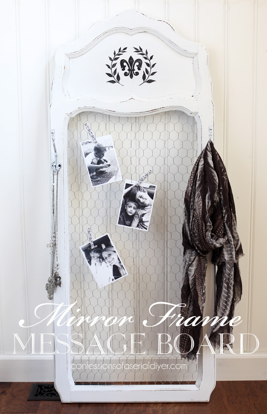 Turn an old dated mirror frame into the perfect photo backdrop or message center!