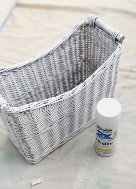 Use Rustoleum spray primer to paint baskets white!