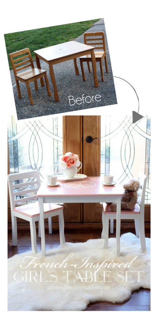 Give a child's table set a whole new look with paint! confessionsofaserialdiyer.com
