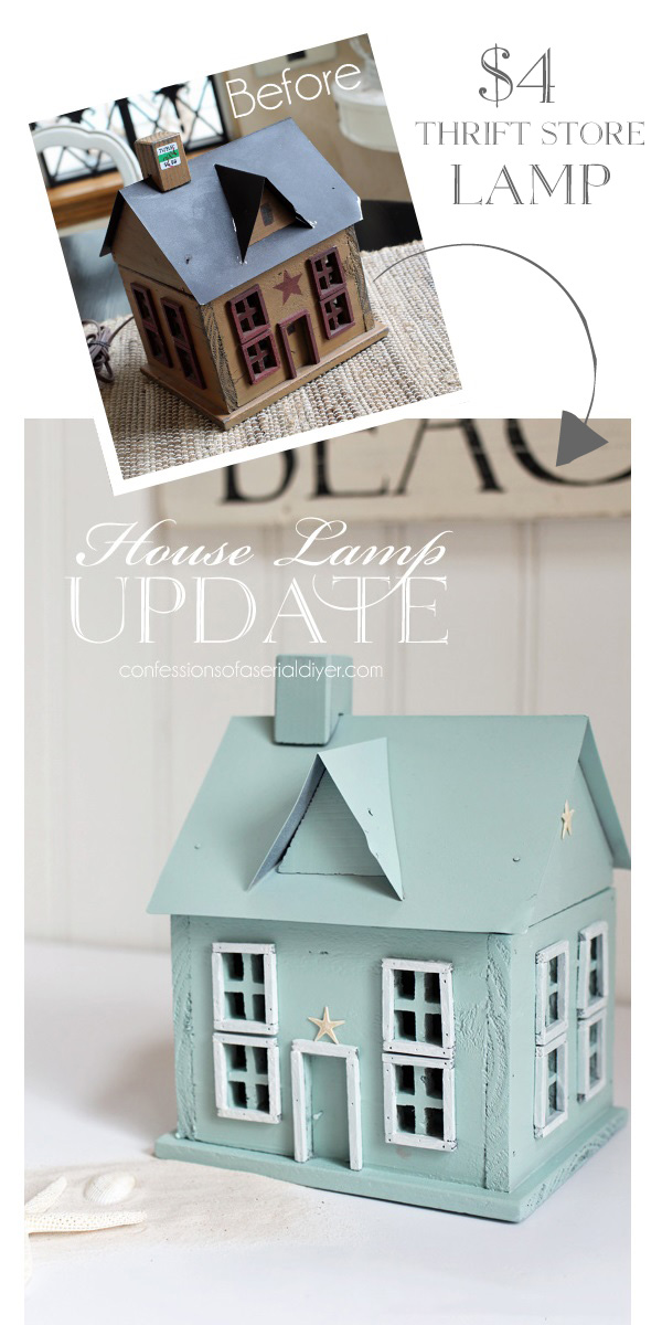 House lamp makeover with Rustoleum Robin's Egg Blue spray paint from confessionsofaserialdiyer.com