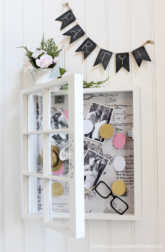 se an old window to create a large shadow box/bulletin board ! confessionsofaserialdiyer.com