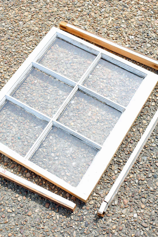 Use a table saw to cut the off edges off your window.