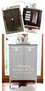 Armoire painted in Annie Sloan French Linen and Pure White from confessionsofaserialdiyer.com