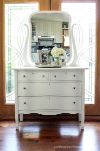 Serpentine Dresser Makeover with Fusion Mineral Paint in Champlain from confessionsofaserialdiyer.com
