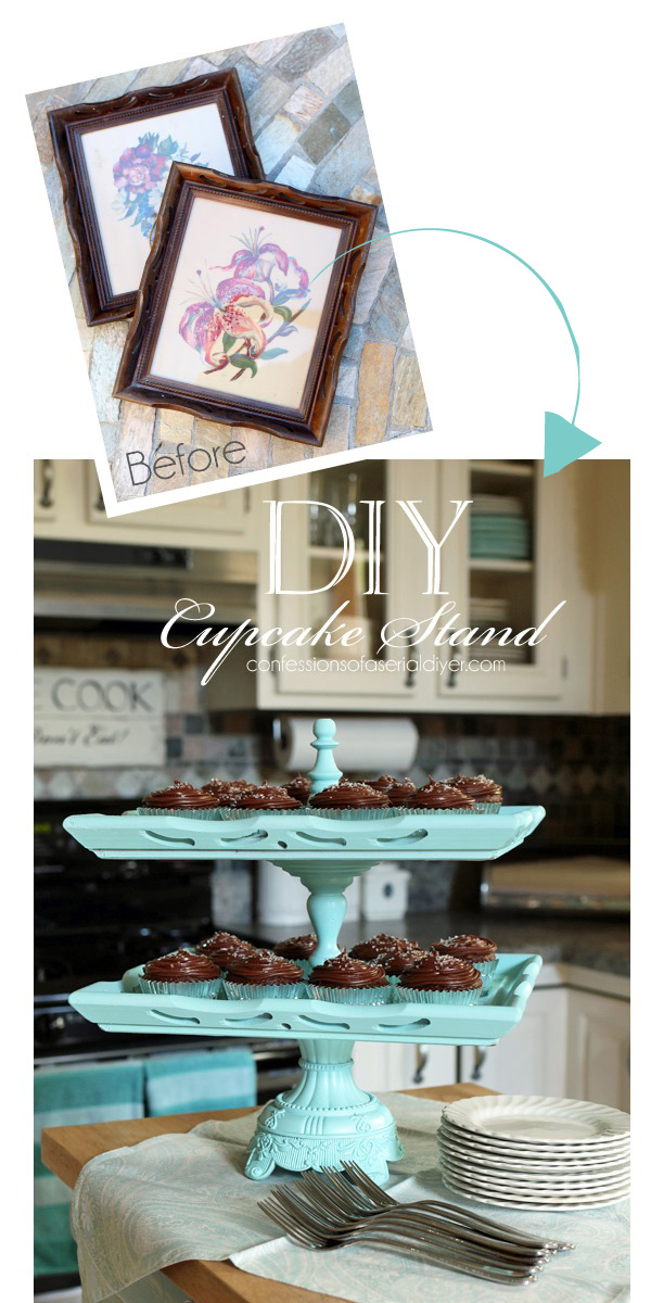 DIY Cupcake Stand from confessionsofaserialdiyer.com