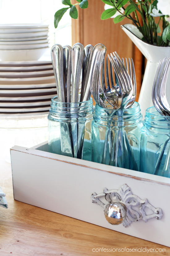 Upcycled drawer: cut an old drawer to create a one-of-a-kind utensil holder from confessionsofaserialdiyer.com