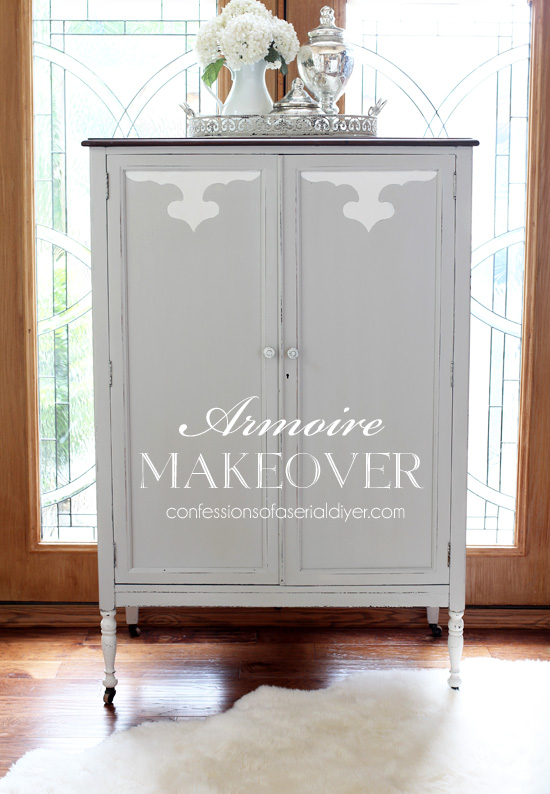 Armoire painted in Annie Sloan French Linen and Pure White
