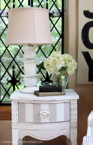 Petite Side Table painted in Fluff by Dixie Belle, with stripes in Annie Sloan French Linen.