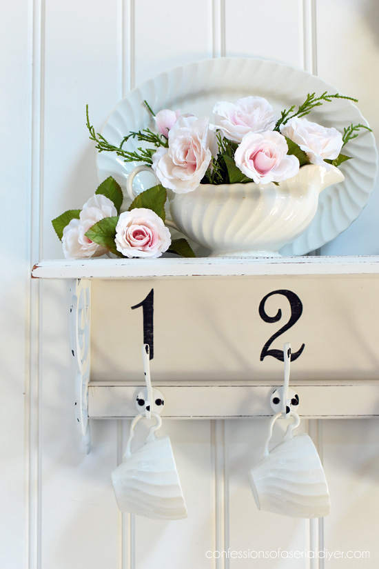 Turn a thrift store shelf into a pretty new mug rack!