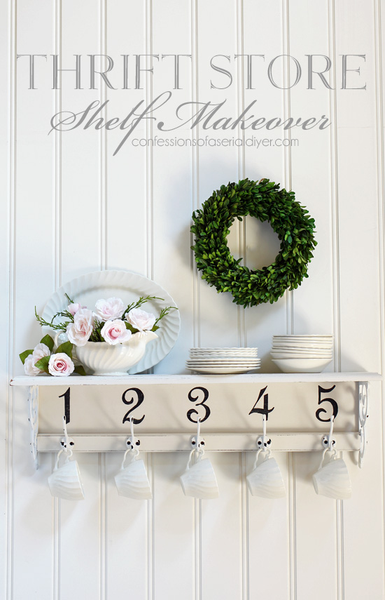 Update a thrift store shelf with numbers and hooks!