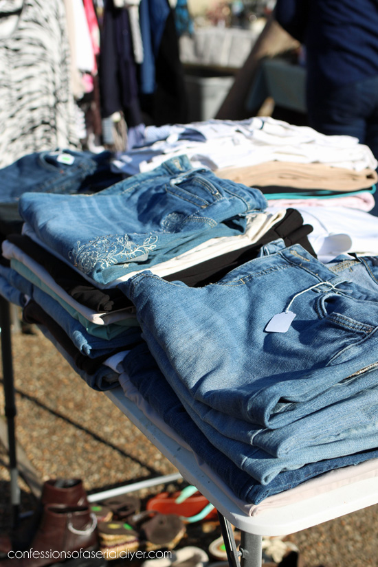 Yard Sale Tip #6: Get clothes off the ground. Hang if possible.
