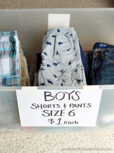 Yard sale tip #3: Sort children's clothes in bins by size