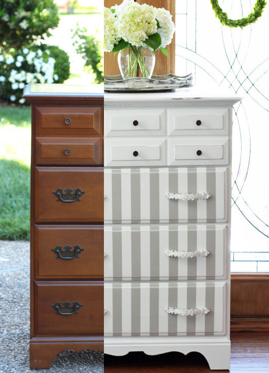 Dated Dresser gets a fresh new look with Annie Sloan French Linen and Pure White from confessionsofaserialdiyer.com