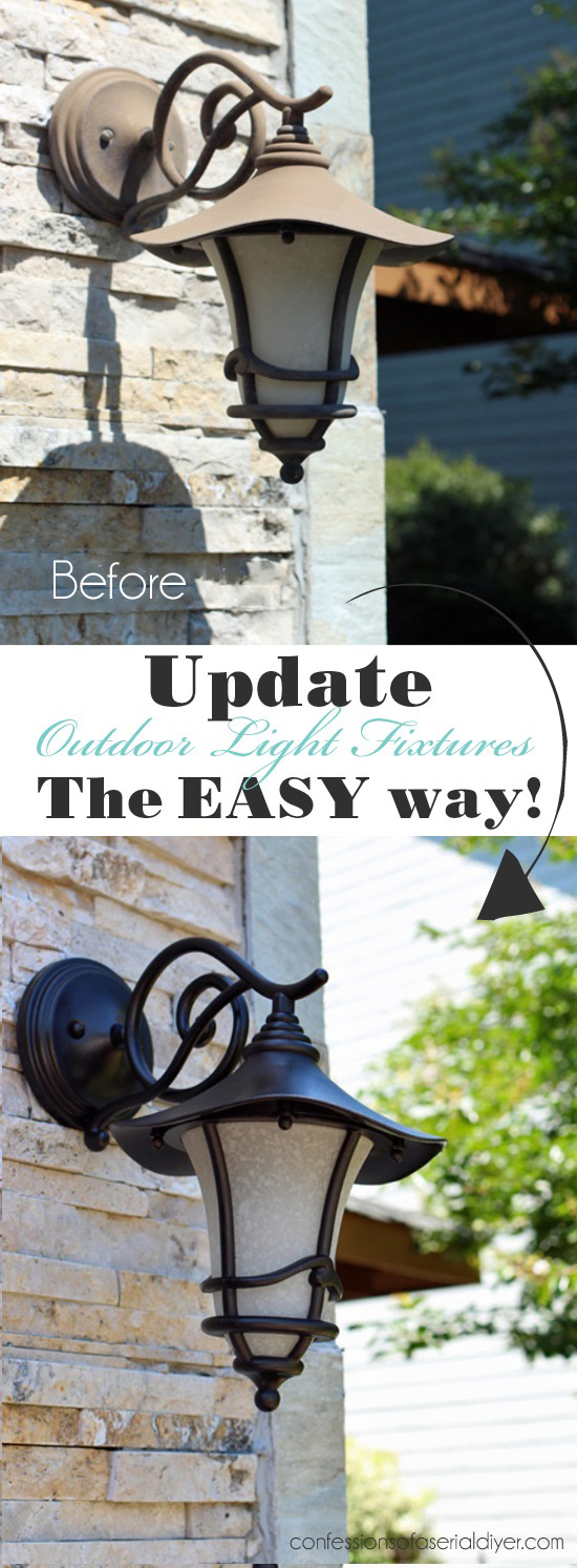 The easiest way to spray paint those faded outdoor light fixtures!
