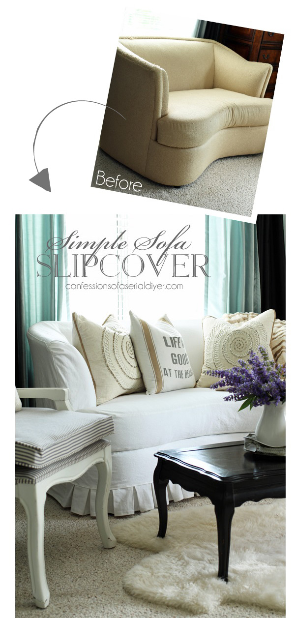 Simple Sofa Slipcover Tutorial from confessionsofaserialdiyer.com
