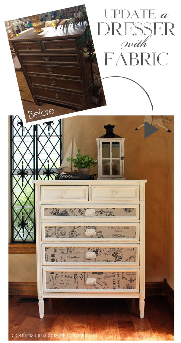 Update a dresser with fabric! confessionsofaserialdiyer.com