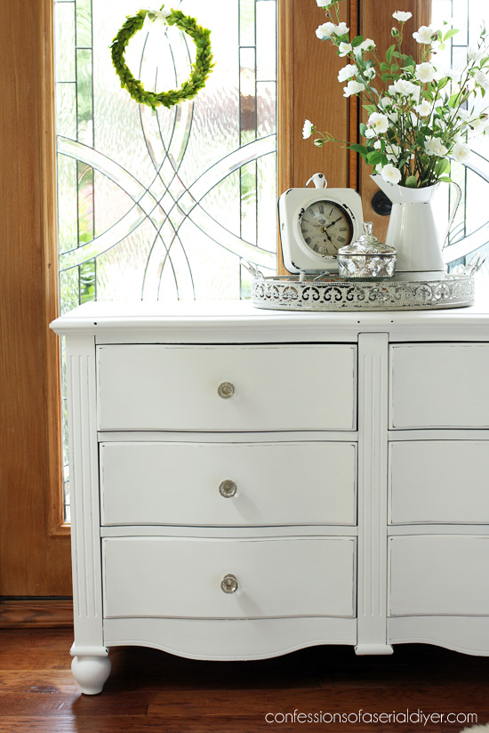 Curvy thrift store dresser updated with DIY chalk paint from confessionsofaserialdiyer.com