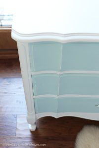 Blue and white bedside table redo from confessionsofaserialdiyer.com