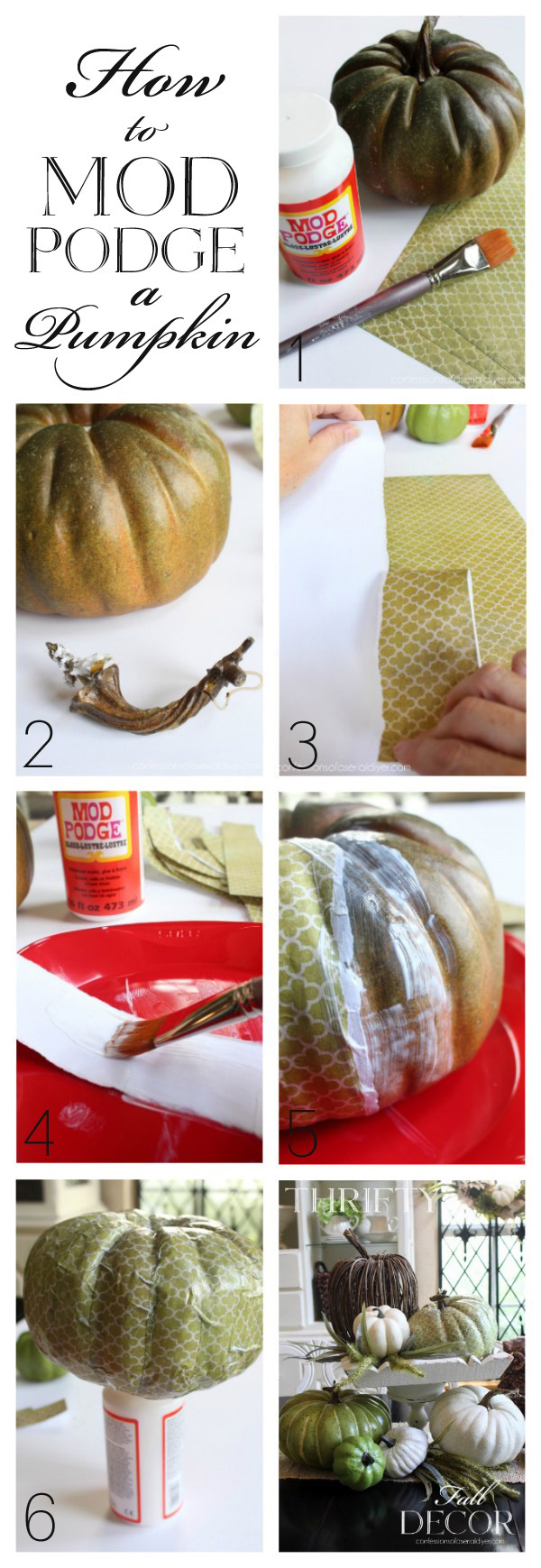 How to Mod Podge a Pumpkin from confessionsofaserialdiyer.com