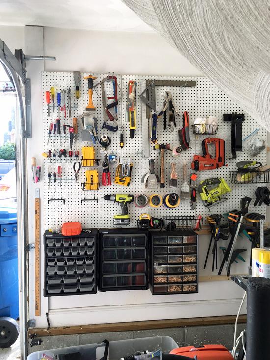 Pegboard tool wall