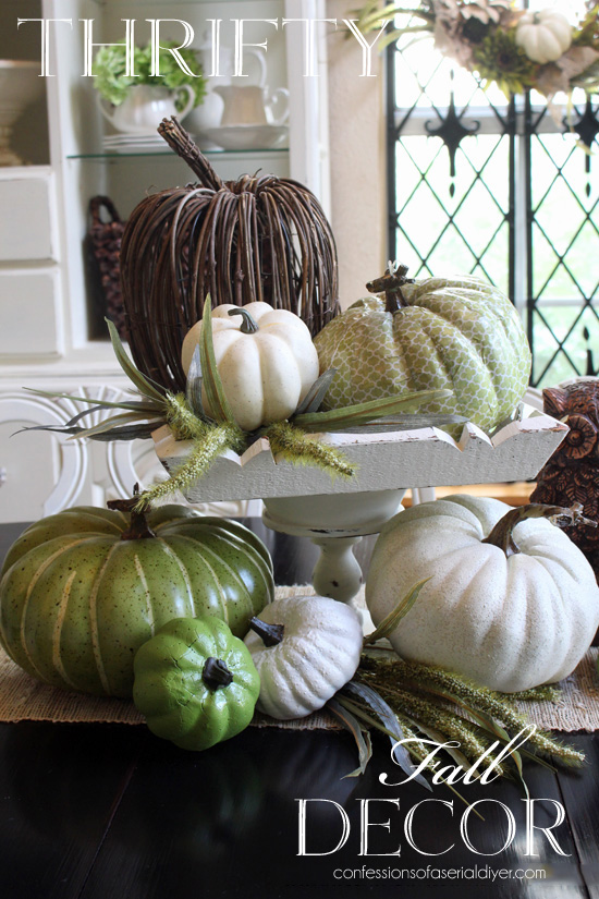 Neutral Fall Decor from Thrift Store throw-aways
