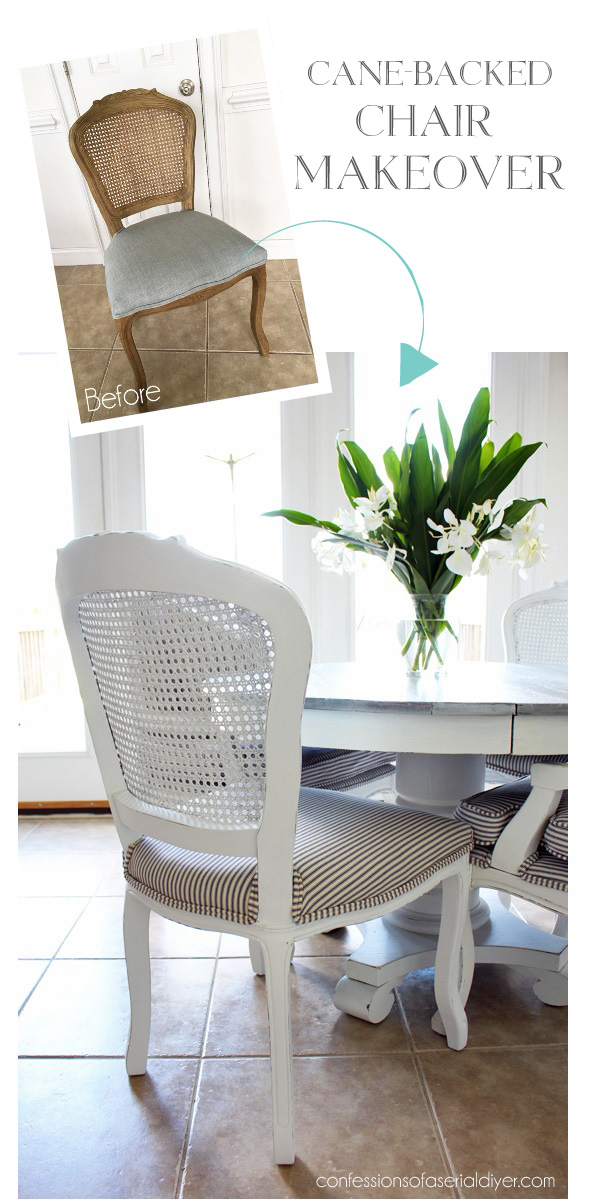Simple Cane-backed chair makeover from confessionsofaserialdiyer.com