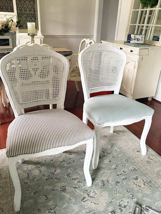 I Covered The Chair Seats In The Same Ticking Fabric I Used On The Other  Chairs I Redidu2026