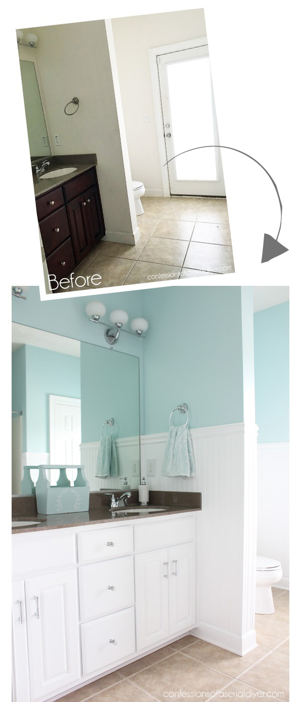 Bathroom makeover with wainscoting