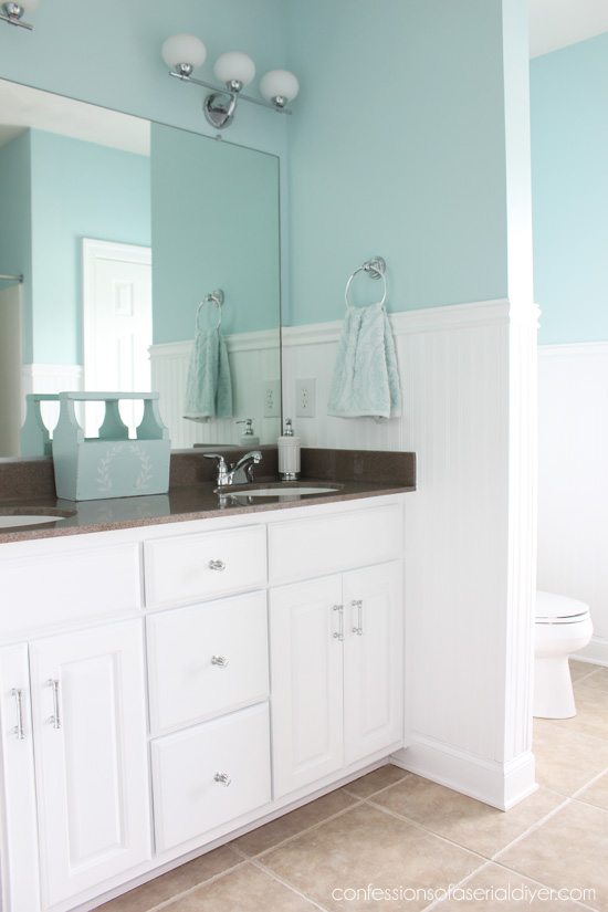 Best Guest bath makeover with wainscoting from confessionsofaserialdiyer