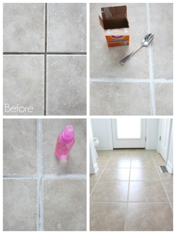 How to clean grout with baking soda and hydrogen peroxide.