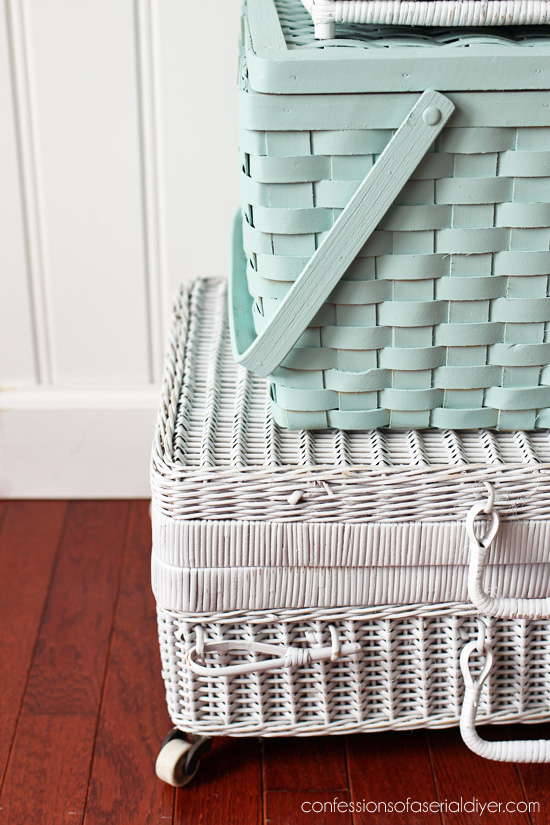 Add wheels to an old picnic basket to turn it into a charming storage piece!