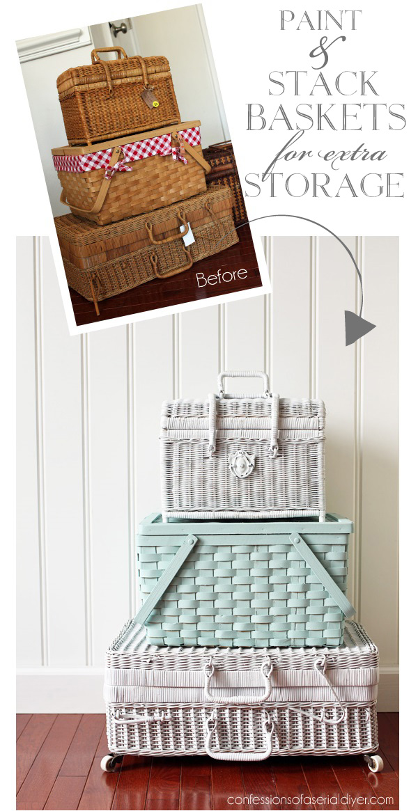 Paint and stack basket for charming extra storage that you can leave right out in the open!