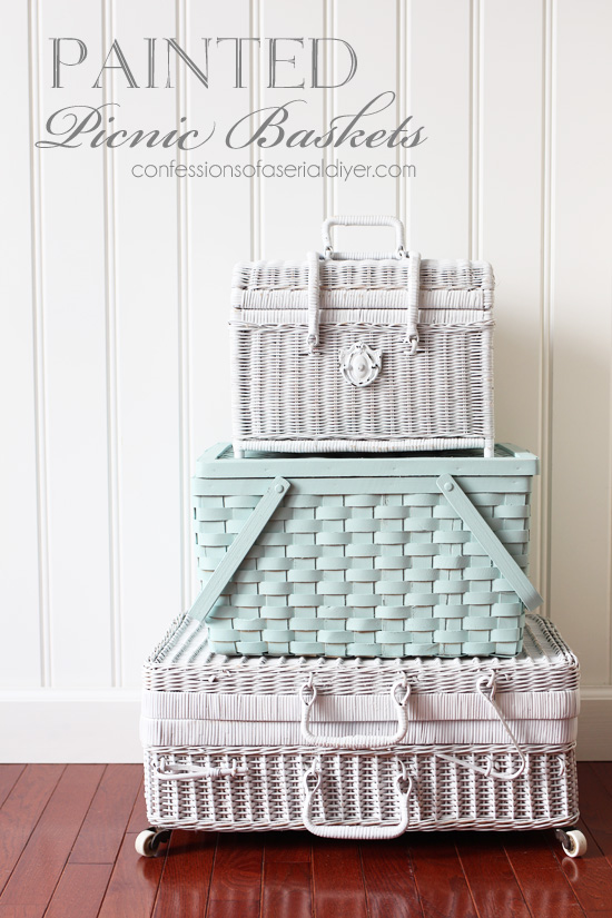 Spray paint picnic baskets to stack for extra storage!