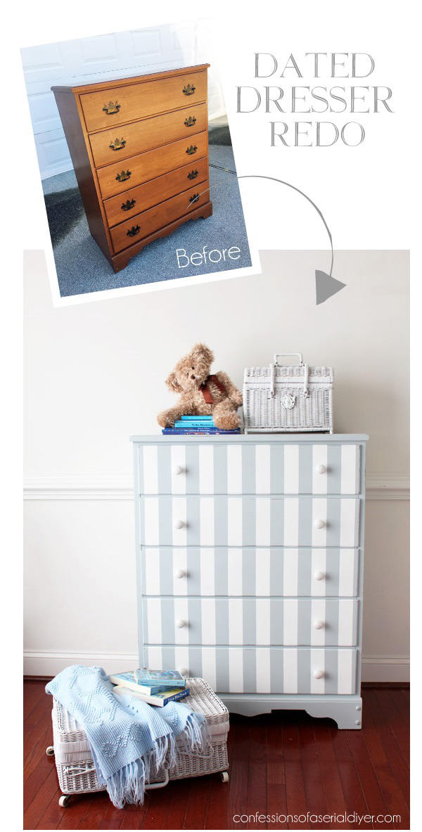 Dated dresser updated with gray stripes from confessionsofaserialdiyer.com