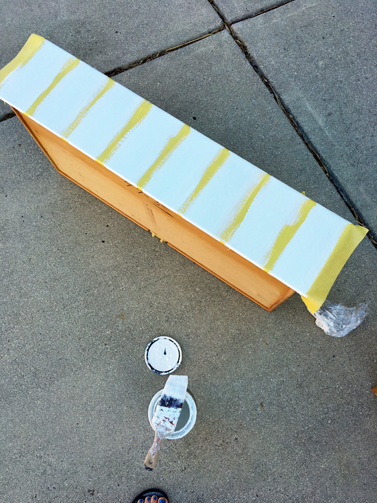 Frogtape for delicate surfaces is my go-to for painting stripes on furniture.