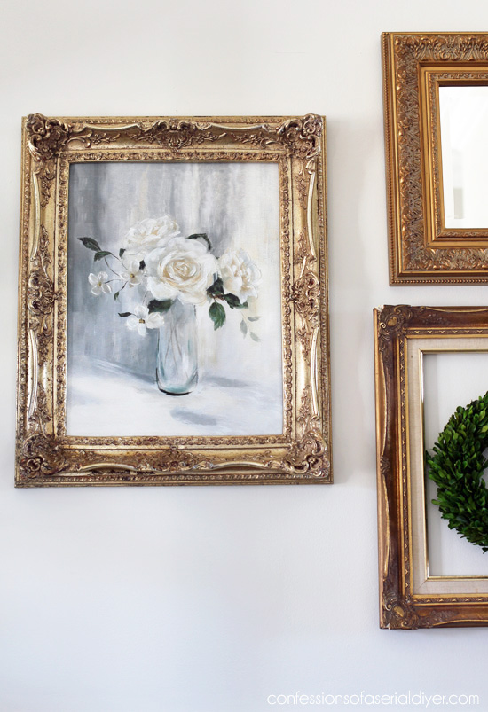 Inexpensive wall decor from thrift store frames from cinfessionsofaserialdiyer.com