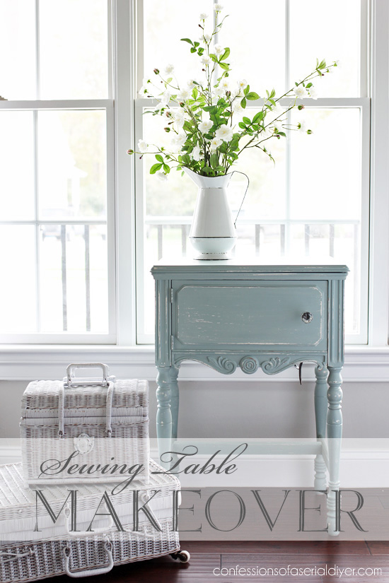 Sewing table painted in DIy chalk paint from confessiosnsofaserialdiyer.com