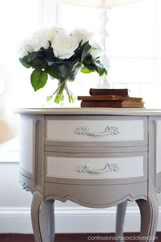 Oval French Provincial Side Table Makeover from confessionsofaserialDIYer.com