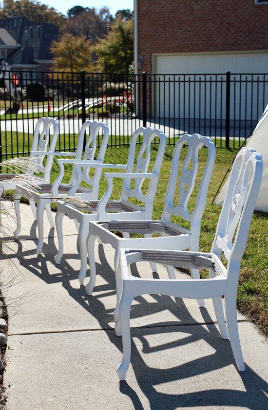 Painting chairs with the HomeRight Paint Sprayer