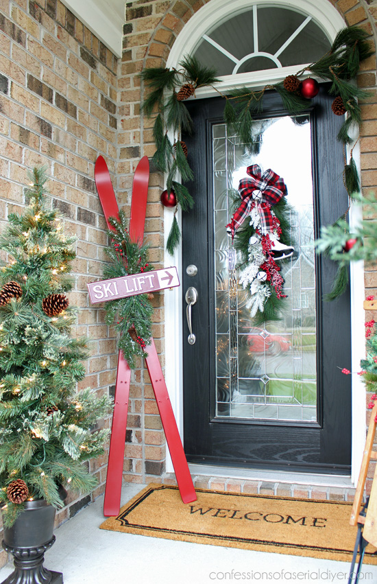 Skis turned Holiday Decor from confessionsofaserialdiyer.com