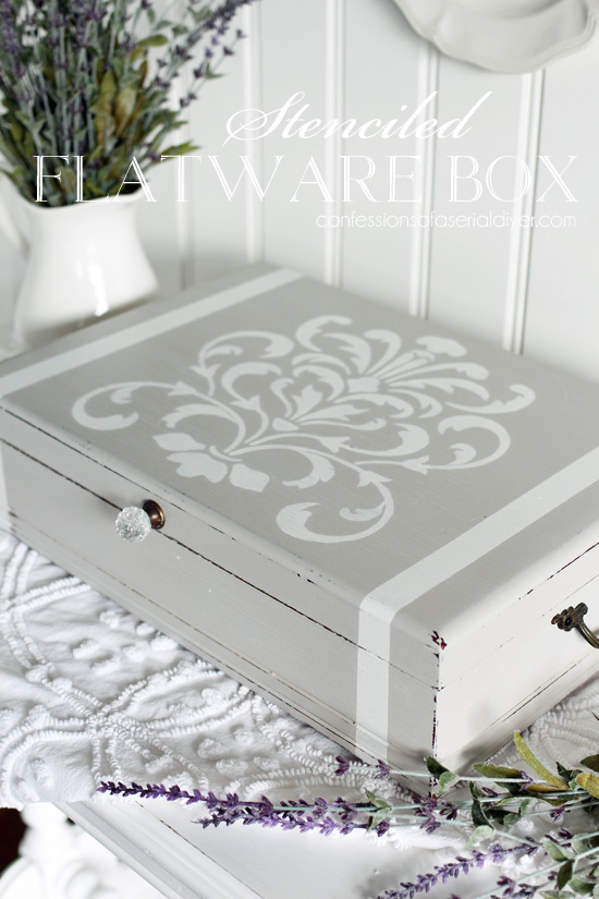 Stenciled flatware box from confessionsofaserialdiyer.com