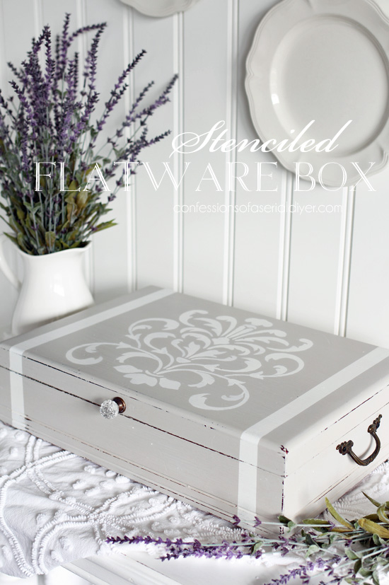 Flatware box made over into a pretty jewelry box