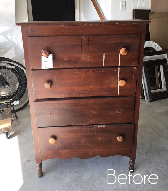 $25 Antique Dresser Makeover
